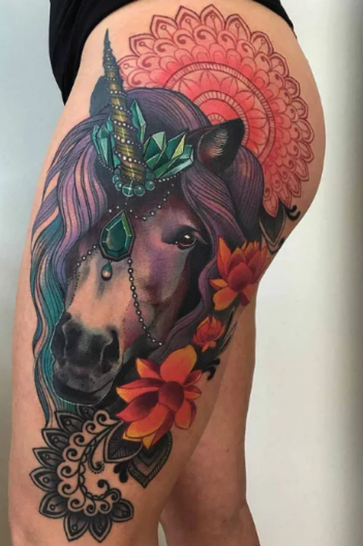 unicorn-side-tattoo